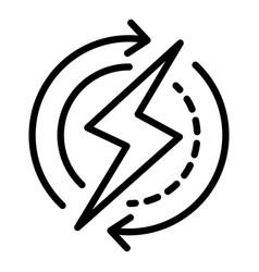 recycling energy bolt icon outline style vector image