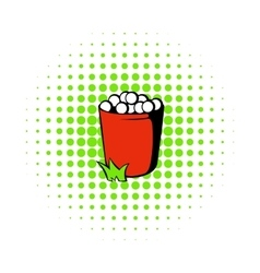 Red basket with golf balls icon comics style vector image