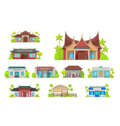 Restaurant building icons cafe and bistro vector