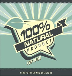 Retro label for organic food vector