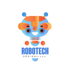 robotech logo design badge with friendly robot vector image