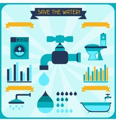 Save the water Poster with infographics in flat vector
