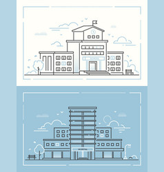 School and hospital - set of thin line design vector