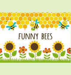 seamless borders grass and funny bees vector image