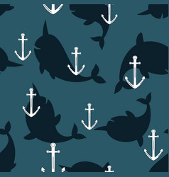 seamless pattern with anchor and whales vector image