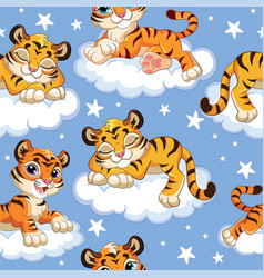 Seamless pattern with dreaming tigers at night vector