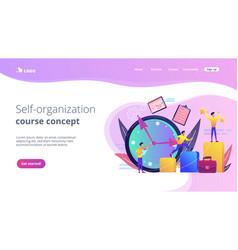 Self management concept landing page vector