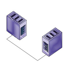 Servers data center with circuit isometric icon vector