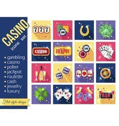set colorful modern gambling icons casino vector image