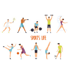 Set isolated woman and man at sport exercise vector