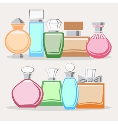 Set of colorful perfume bottles vector image