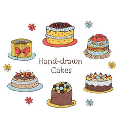 Set of hand-drawn cakes vector