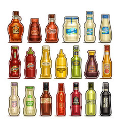 set of isolated bottles vector image