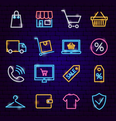 Shopping neon icons vector