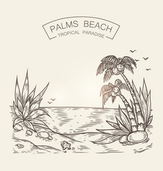 Sketch of a seaside beach sea shore vector