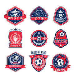 Soccer ball shield badge of football sport club vector