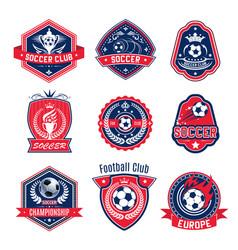 Soccer ball shield badge of football sport club vector