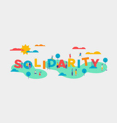 Solidarity day banner of diverse people community vector
