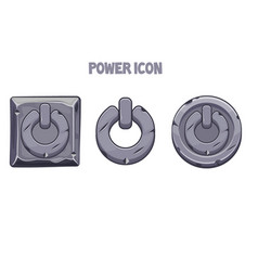 stone power icons different shapes for menu vector image