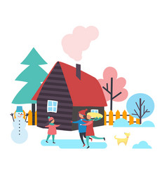 Trees and houses winter season people vector