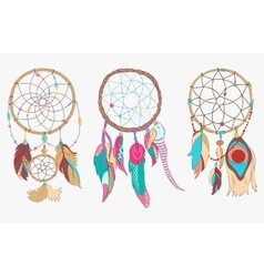 Tribal dreamcatcher made of hoop and net vector
