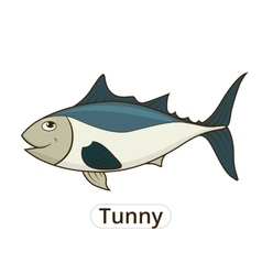 Tunny sea fish cartoon for children vector image