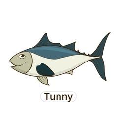 Tunny sea fish cartoon for children vector image