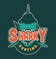 Vintage sharky surfing print vector