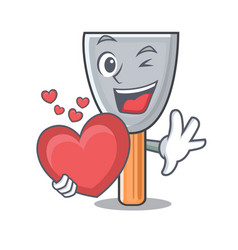 With heart cartoon putty knife in plaster vector