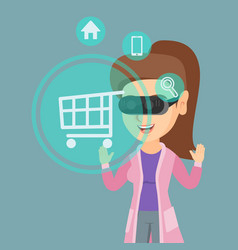 woman in virtual reality headset shopping online vector image