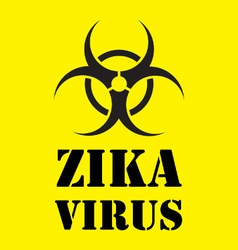 Zika virus warning sign in yellow vector