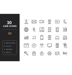 30 user interface line icons vector image vector image