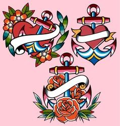 Anchor navy tattoo vector