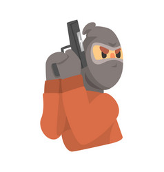 masked robber with gun colorful cartoon character vector image