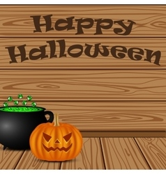 Pot with a potion witch and pumpkin vector image vector image