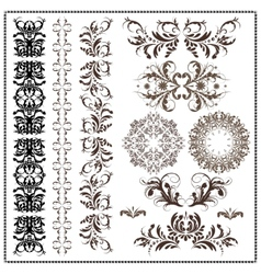 set of calligraphic patterns vector image
