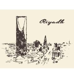 Sketch of Riyadh skyline drawn vector image vector image