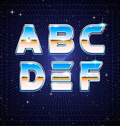 80s Retro Sci-Fi Font from A to F vector image vector image