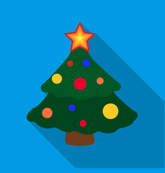 christmas tree icon in flat style isolated on vector image vector image