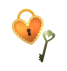 Colorful cartoon heart shape lock and key vector image