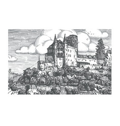Engraved of medieval castle vector