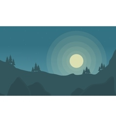 Silhouette of rock and moon vector