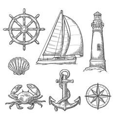 anchor wheel sailing ship compass rose shell vector image
