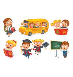 back to school funny cartoon character vector image
