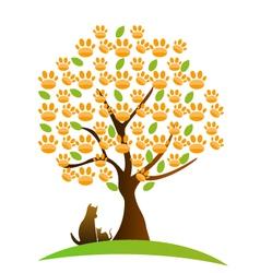Cat dog and footprint tree logo vector image vector image