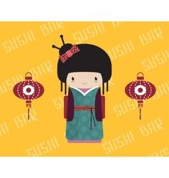 Kokeshi doll in kimono with traditional asian vector image