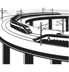 passenger trains pass through bridge vector image vector image
