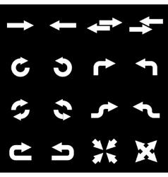 white arrows icon set vector image vector image