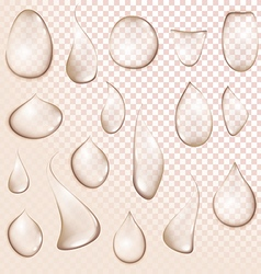 drop Pure clear water drops realistic set isolated vector image