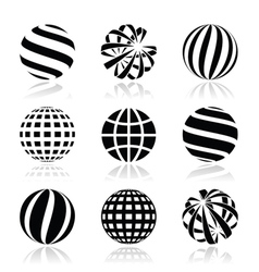 Globe sphere earth icons set vector image